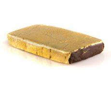 Afghan Gold Eine Tablette von CBD Hash mit Goldblatt